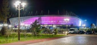 Rosja, Don, Maj 11, 2018: Stadionu futbolowego Rostov arena Stadium dla 2018 FIFA pucharu świata Nocy iluminacja Fotografia Royalty Free
