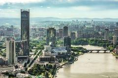 Rosja Ekaterinburg Widoku miasta nabrzeże zdjęcia stock