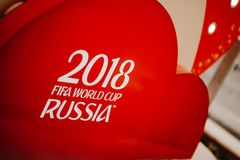 Rosja Fifa pucharu świata 2018 tło Czerwony tło z matry Zdjęcia Stock