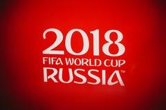 Rosja Fifa pucharu świata 2018 tło Czerwony tło z matry Zdjęcie Stock