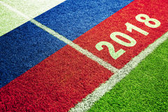 Rosja flaga na boisko do piłki nożnej tle Obraz Royalty Free