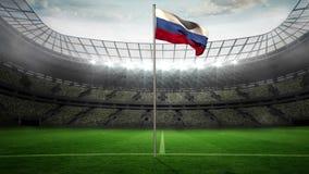 Rosja flaga państowowa falowanie na flagpole royalty ilustracja