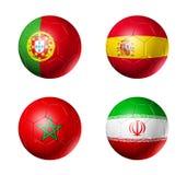 Rosja futbolu 2018 b grupowe flaga na piłek nożnych piłkach Zdjęcie Royalty Free