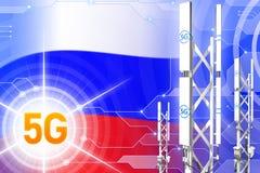 Rosja 5G przemysłowa ilustracja, ogromny komórkowy sieć maszt lub wierza na nowożytnym tle z flagą, - 3D ilustracja ilustracji