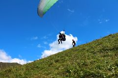 Rosja Kabardino-Barkar republika Chegem paradrome dokąd sen przychodzą prawdziwego, loty nad ziemią! obraz royalty free