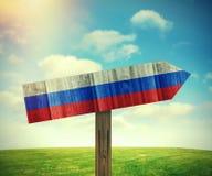 Rosja kierunku drewniany znak Obrazy Stock
