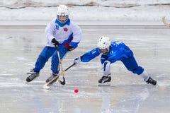 ROSJA, KRASNOGORSK - MARZEC 03, 2015: faz końcowych children liga hokejowa bandy, Rosja Zdjęcie Royalty Free