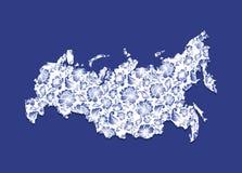 Rosja mapy Gzhel obraz Tradycyjny rosjanina wzór Zdjęcie Royalty Free