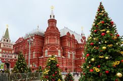 Rosja moscow Dziejowy muzeum podczas Bożenarodzeniowych wakacji Obrazy Royalty Free