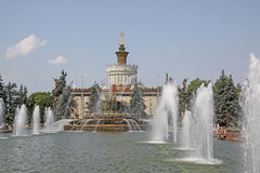 Rosja moscow Wystawa osiągnięcia narodowa gospodarka Kamienna kwiat fontanna Fotografia Royalty Free