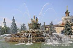 Rosja moscow Wystawa osiągnięcia narodowa gospodarka Kamienna kwiat fontanna Fotografia Stock