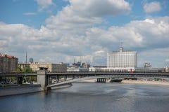 ROSJA, MOSKWA, CZERWIEC 7, 2017: Widok od Borodinsky mosta Fotografia Stock