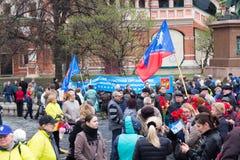 05/01/2015 Rosja, Moskwa Demonstracja na placu czerwonym Pracowniczy da Zdjęcie Royalty Free