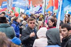 05/01/2015 Rosja, Moskwa Demonstracja na placu czerwonym Pracowniczy da Obrazy Royalty Free