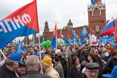 05/01/2015 Rosja, Moskwa Demonstracja na placu czerwonym Pracowniczy da Obraz Stock