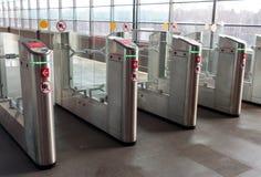 Rosja, Moskwa, kołowrotu dostęp Aeroexpress pociąg Obrazy Stock