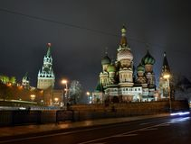 Rosja Moskwa Kremlin wierza kapitał, St basilu katedra Obrazy Royalty Free