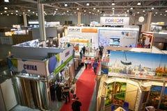 ROSJA, MOSKWA, KWIECIEŃ, -, 04, 2019 i apretura materiały krokusa expo wystawy budynek, fotografia stock