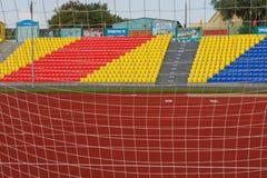 ROSJA, MOSKWA LIPIEC 29, 2016: Stary stadion futbolowy otwierał po tym jak odbudowa należna Moskwa mayor program Zdjęcie Royalty Free