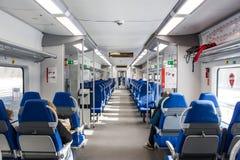 Rosja, Moskwa, Luty 26, 2017: Wnętrze Lastochka pociąg a Fotografia Royalty Free