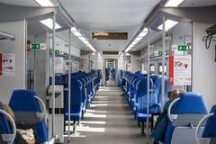 Rosja, Moskwa, Luty 26, 2017: Wnętrze Lastochka pociąg a Zdjęcia Stock