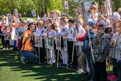 Rosja Moskwa, Maj, 07 18: Specjalnego jawnego dzieciniec akci ` pułku Nieśmiertelny `, militarna stan propaganda dla rosyjskich d zdjęcie royalty free