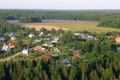 Rosja, Moskwa region Widok z lotu ptaka lato domy Fotografia Royalty Free