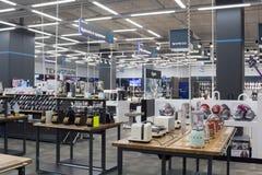 Rosja, Moskwa, sklep elektronika i gospodarstw domowych urządzenia zdjęcie stock