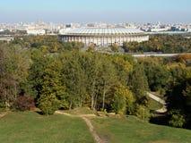 Rosja, Moskwa - widok od Wróblich wzgórzy w Luzhniki Zdjęcie Stock
