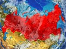 Rosja na ziemi od przestrzeni ilustracja wektor