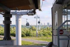 Rosja, Nizhny Novgorod: Funicular przez Volga rzekę zdjęcie stock