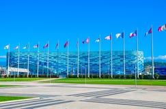 Rosja, Października 14 2018-Sochi Olimpijski park - Lodowa pa?ac g?ra lodowa zdjęcia royalty free