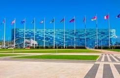 Rosja, Października 14 2018-Sochi Olimpijski park - Lodowa pa?ac g?ra lodowa fotografia stock