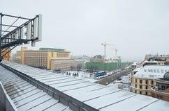 Rosja Panoramiczny widok Moskwa od dachu Środkowy dziecka ` s sklep Luty 11, 2018 Obraz Royalty Free