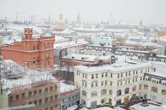 Rosja Panoramiczny widok Moskwa od dachu Środkowy dziecka ` s sklep Luty 11, 2018 Obrazy Royalty Free