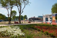 Rosja Parkowy ` Levoberezhny ` obok stadium ` areny ` Lipiec 01, 2018 Fotografia Stock