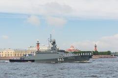Rosja, Petersburg, Lipiec 30, 2017 - dzień parady marynarka wojenna mała Obraz Royalty Free