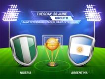 Rosja 2018, piłki nożnej mistrzostwa liga, dopasowanie między Nigeria v ilustracji