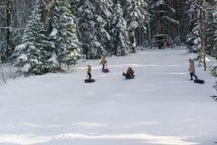 Rosja plateau Lago-Naki Adygeya, Styczeń, - 28 2017: dzieci i dorosłych przejażdżki śnieżni wzgórza na saniach dla narciarstwa Po Zdjęcia Royalty Free