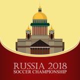 Rosja 2018 pucharów świata Futbolowy sztandar Wektorowa płaska ilustracja sport Wizerunek St Isaac ` s katedra ilustracja wektor