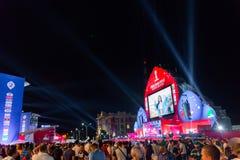 Rosja, Rostov na Don, Czerwiec 21, 2018: Fan strefa w Don dla światu Cup-2018 lokalizować na teatru kwadracie miasto zdjęcie royalty free