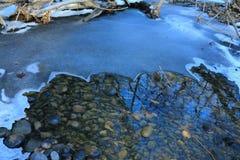 Rosja Rosyjska lasowa wiosna w Rosja piękna natura rzeka w zimie, piękni wzory, jasny woda Fotografia Royalty Free