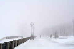 Rosja, Samara, 06 2016 Luty - bulwar na Volga rzece w zimy mgle Zdjęcia Royalty Free