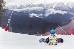 ROSJA, SOCHI, GORKY GOROD - MARZEC 26, 2017: Widok skłony Gorky Gorod ośrodek narciarski Zdjęcie Royalty Free
