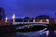 Rosja, St Petersburg, Panteleimon most w wieczór obraz royalty free