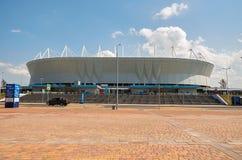 Rosja Stadionu futbolowego ` areny ` blisko parkowy ` Levoberezhny ` Lipiec 01, 2018 Obraz Stock