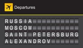 Rosja trzepnięcia abecadła lotniskowi odjazdy, Moskwa Fotografia Royalty Free