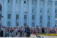 Rosja, Ulyanovsk, Lipa 9, 2018 wiec przeciw podnosić podatki i wieka emerytalnego obraz royalty free