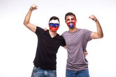 Rosja vs Sistani na białym tle Fan piłki nożnej drużyna narodowa. świętują, tanczą i krzyczą, Obrazy Stock
