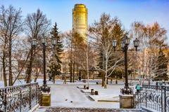 Rosja yekaterinburg Sławni ikonowi miejsca w mieście Zimy miasta krajobraz obraz stock